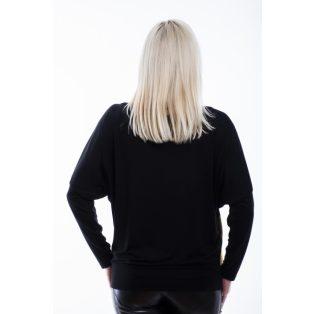 Rucy Fashion fekete-mustár csíkos denevér fazonú passzés felső