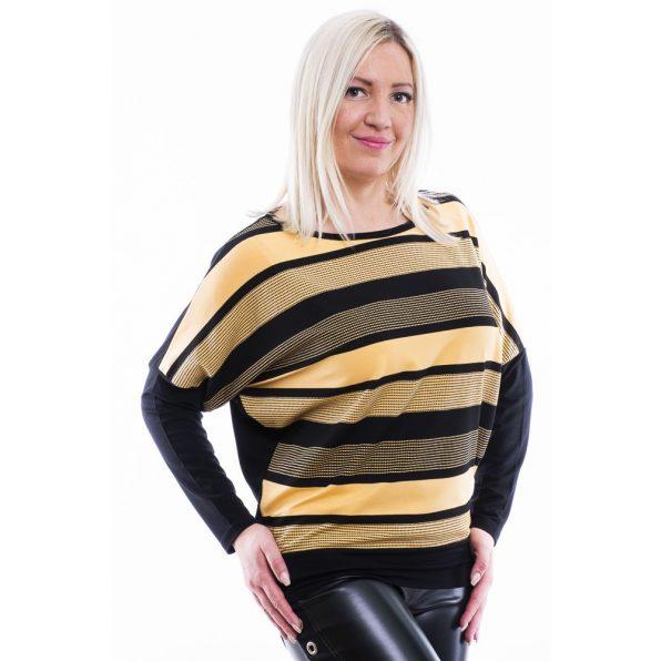 Rucy Fashion fekete-sárga csíkos denevér fazonú hosszú ujjú passzés felső