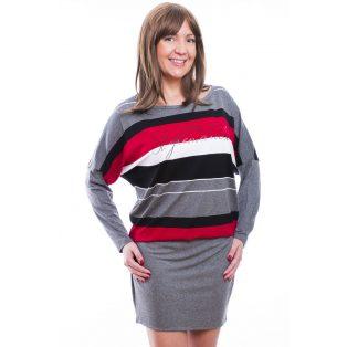 Rucy Fashion antracit-fekete-piros csíkos, hosszú ujjú denevér fazonú ruha/tunika, dupla szoknyával