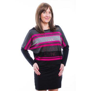 Rucy Fashion fekete-szürke-pink csíkos, hosszú ujjú denevér fazonú ruha / tunika, dupla szoknyával