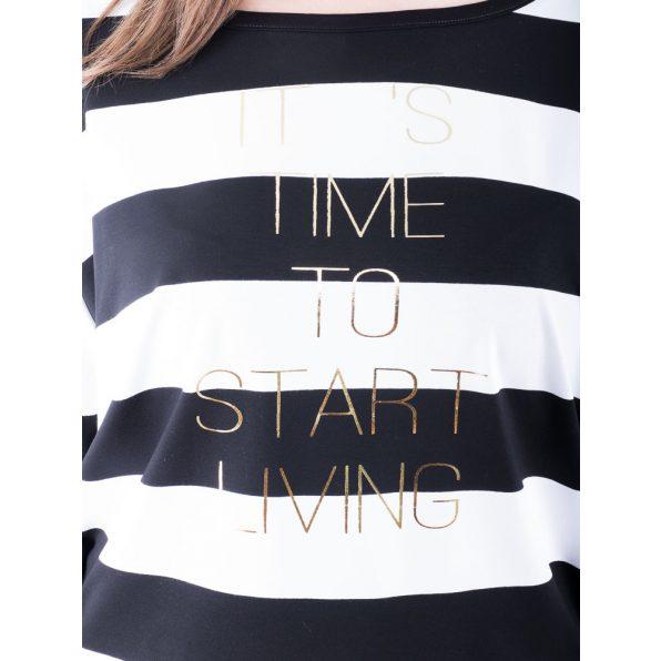 Rucy Fashion fekete-fehér csíkos denevér fazonú ruha / tunika