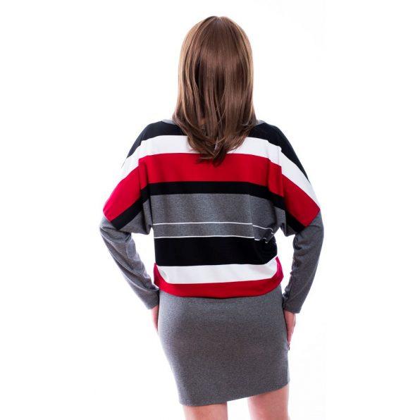 Rucy Fashion szürke-fekete-fehér-piros csíkos denevér fazonú ruha / tunika