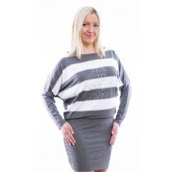 Rucy Fashion szürke-fehér csíkos denevér fazonú ruha / tunika