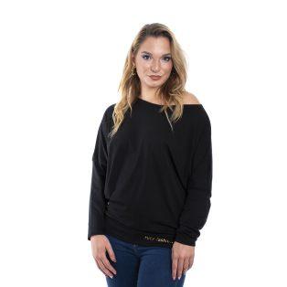 Rucy Fashion fekete egyszínű passzés aljú denevér, hosszu ujjú felső