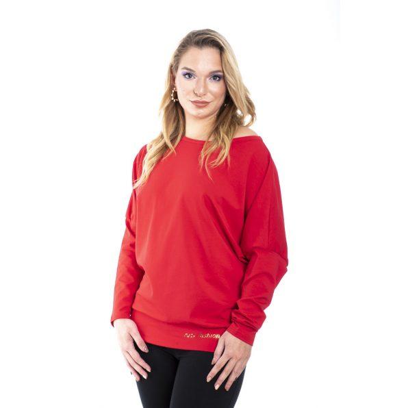 Rucy Fashion drapp színű passzés aljú denevér fazonú, hosszú ujjú felső