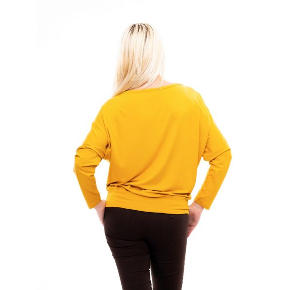 Rucy Fashion hosszú ujjú mustár passzés felső logóval