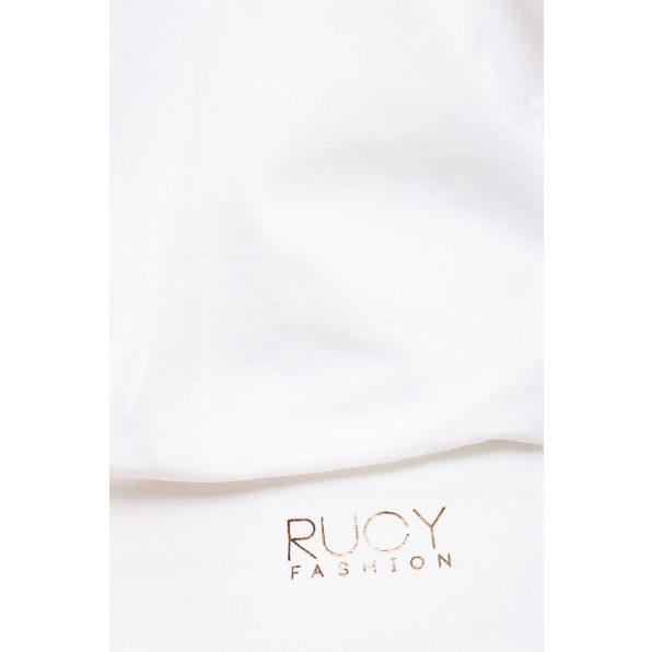 Rucy  fashion ekrü csónak nyakú, denevér fazonú, hosszú ujjú passzés női felső logóval