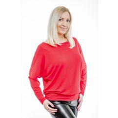 Rucy Fashion hosszú ujjú piros csónak nyakú, denevér fazonú passzés felső logóval