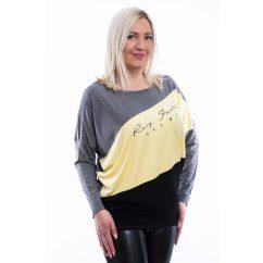 Rucy Fashion szürke-sárga-fekete keresztbe vágott denevér fazonú felső
