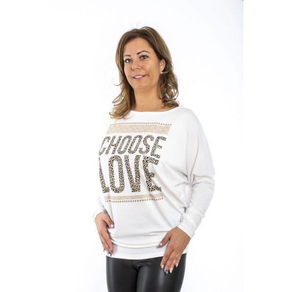 Hosszú ujjú ecrü alapon denevér fazonú felső /Fashion style, choose love, perfect day/ mintával