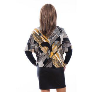 Rucy Fashion mustár-szürke-fekete absztrakt mintás bőrszoknyás, hosszú  denevér fazonú ruha / tunika