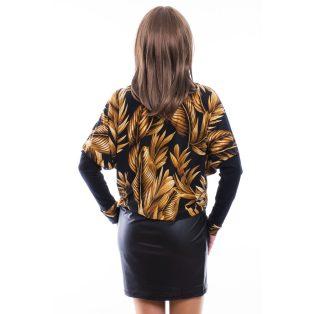 Rucy Fashion fekete alapon levél mintás bőrszoknyás denevér fazonú ruha / tunika