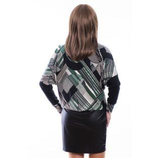 Rucy Fashion keki-szürke-fekete absztrakt mintás bőrszoknyás denevér fazonú ruha / tunika