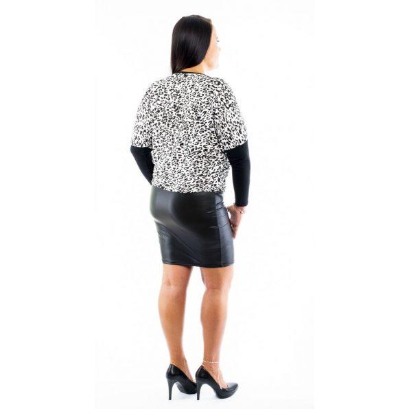 Állatmintás bőrszoknyás denevér fazonú ruha / tunika