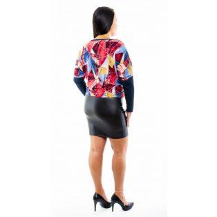 Hosszú ujjú absztrakt mintás sötétkék bőrszoknyás denevér fazonú ruha / tunika