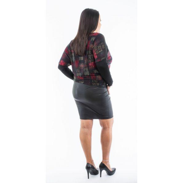 Színes vonal mintás  fekete bőrszoknyás denevér fazonú ruha / tunika