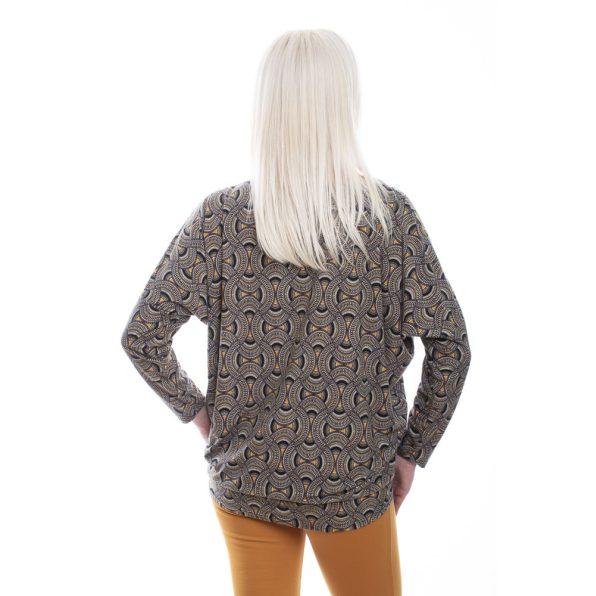 rucy fashion mustár-fekete mintájú lezser felső, denevér tunika