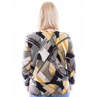 Rucy Fashion mustár-fekete absztrakt mintás lezser felső, hosszú ujjú denevér fazonú tunika