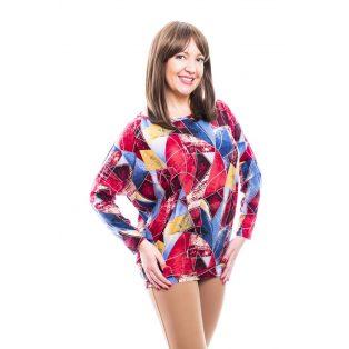 Rucy Fashion pirosas-kékes-drappos absztrakt mintás, hosszú ujjú lezser felső, denevér tunika
