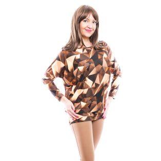 Rucy Fashion barnás-drappos absztrakt mintás, hosszú ujjú lezser felső, denevér ujjú tunika
