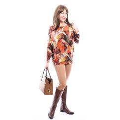 Rucy Fashion rozsda-barna-mustár absztrakt mintás, hosszú ujjú,  lezser felső, denevér ujjú tunika
