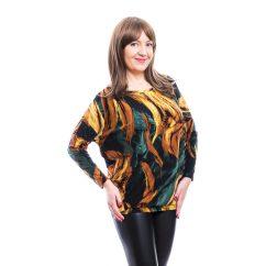 Rucy Fashion zöld-mustár-fekete mintás, hosszú ujjú lezser felső, denevér fazonú tunika