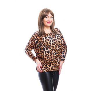 Rucy Fashion hosszú ujjú lezser felső állatmintával, denevér fazonú tunika