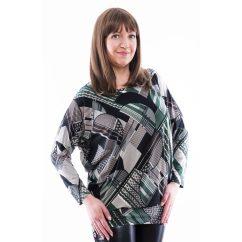 Rucy Fashion fekete alapon zöld absztrakt mintás lezser felső