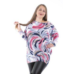 Rucy Fashion sötétkék alapon színátmenetes hullám mintás lezser felső