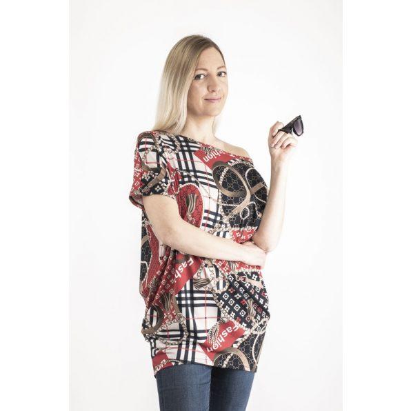 Hosszú ujjú piros-sötétkék kendőmintás lezser felső /Plus Size méretben is rendelhető/