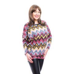Rucy Fashion zikk-zakk mintás kötött lezser, hosszú ujjú felső, denevér fazonú tunika