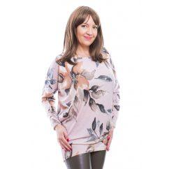 Rucy Fashion púder alapon virágos vékony kötött, hosszú ujjú lezser felső, denevér fazonú tunika