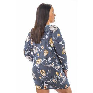 Hosszú ujjú, sötétszürke alapon mustár virág mintás kötős lezser ruha, tunika