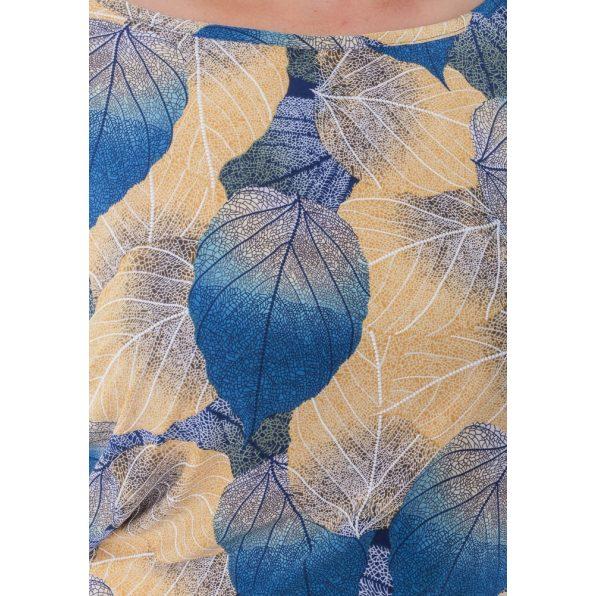 Hosszú ujjú, őszi színes levél mintás kötős lezser ruha, tunika
