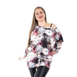 Hosszú ujjú őszi /virág-levél/ mintás kötős tunika, ruha