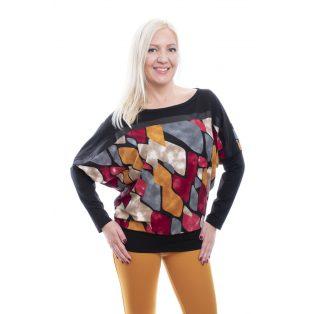 rucy fashion őszi absztrakt mintás denevér szabású passzés aljú felső