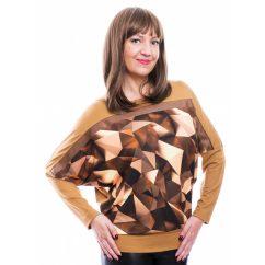 Rucy Fashion barna árnyalatú absztrakt mintás, denevér fazonú, hosszú ujjú, passzés női felső