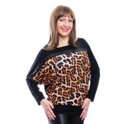 Rucy Fashion fekete és állatmintás denevér fazonú, hosszú ujjú, passzés női felső