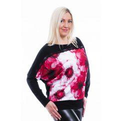Rucy Fashion fekete alappal piros virágos denevér fazonú hosszú ujjú passzés felső