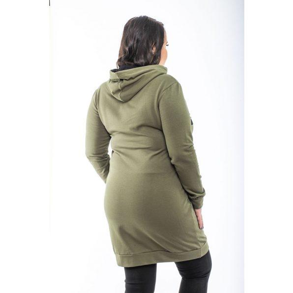 Hosszú ujjú keki kapucnis sportos ruha