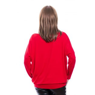 Rucy Fashion piros alapon absztrakt lezser felső, hosszú ujjú denevér tunika