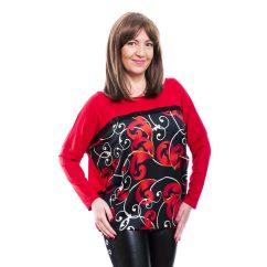 Rucy Fashion piros alapon fekete-piros cirádás mintás lezser felső, hosszú ujjú denevér tunika