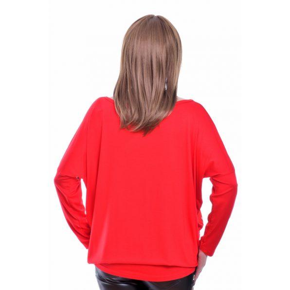 Rucy Fashion piros színű szürkés alapon virág mintás lezser felső, hosszú ujjú denevér tunika
