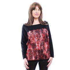 Rucy Fashion fekete alapon piros kígyómintás lezser felső, hosszú ujjú denevér tunika