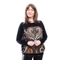Rucy Fashion fekete alapon bronzos absztrakt mintás lezser felső, hosszú ujjú denevér tunika