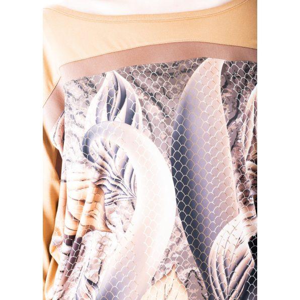 Rucy Fashion levél és csipke mintás denevér fazonú, hosszú ujjú lezser felső, fahéj alapon