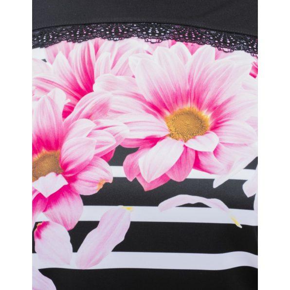 Hosszú ujjú csíkos alapon rózsaszín virág mintás lezser felső