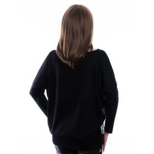 Rucy Fashion fekete párduc alapon tropical virág mintás hosszú ujjú, denevér fazonú lezser felső