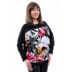 Rucy Fashion fekete alapon tropical virág mintás denevér fazonú, hosszú ujjú lezser felső