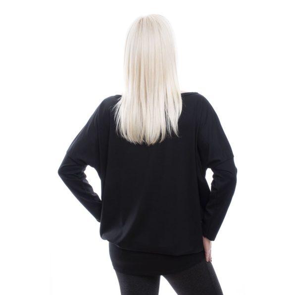 Rucy Fashion fekete alapon görög mintás lezser felső, hosszú ujjú, denevér fazonú tunika